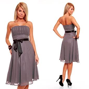 Knielanges Bandeau Kleid Chiffon Ballkleid Abendkleid ...