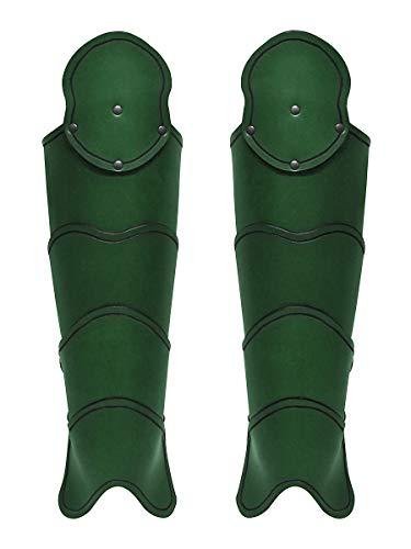 Andracor - Segmentierte Beinschienen mit Kniekacheln - Stabile Leder Rüstung für die Beine - LARP Mittelalter Cosplay & Reenactment - ()