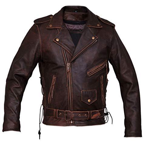 Marlboro Gears Dunhill Leder Herren, Damen Antique Brown Biker Lederjacke-XL -