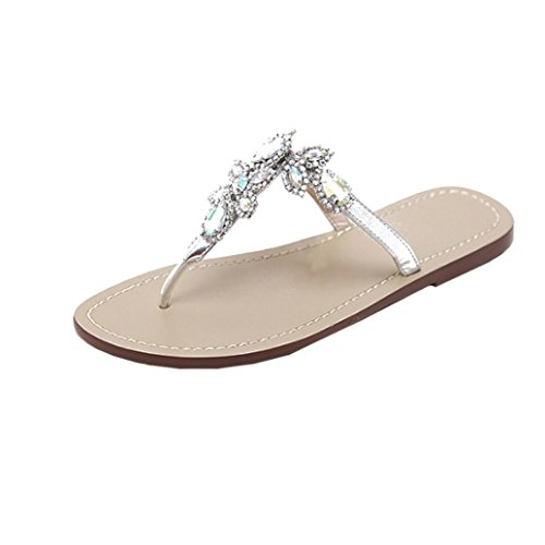 ¡Oferta de liquidación! Women's Flip Flop Covermason Bohemia Rhinestones Sandalias de cadena T strap Beach Flat Shoes(40 EU, Plata)