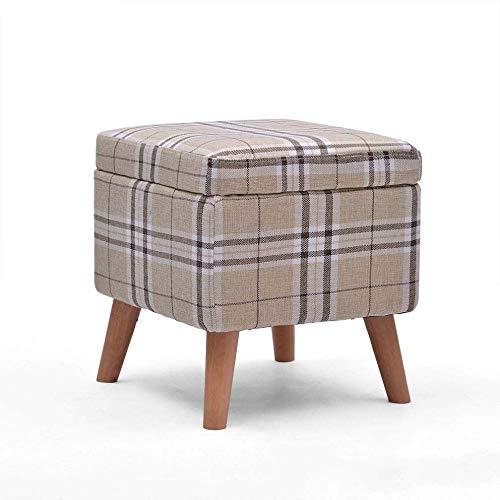 ZBYY Hocker Mit Stauraum Holz Polsterhocker Deckel Abnehmbar Sitzhocker Gepolsterte Sitzfläche Aus Leinen Flur Wohnzimmer Schlafzimmer 40 * 40 * 42cm -