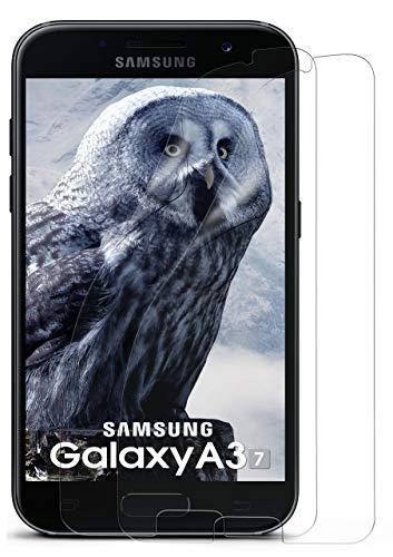 moex 2X Samsung Galaxy A3 (2017) | Schutzfolie Klar Display Schutz [Crystal-Clear] Screen Protector Bildschirm Handy-Folie Dünn Displayschutz-Folie für Samsung Galaxy A3 2017 Displayfolie Clear Screen Guard Protector