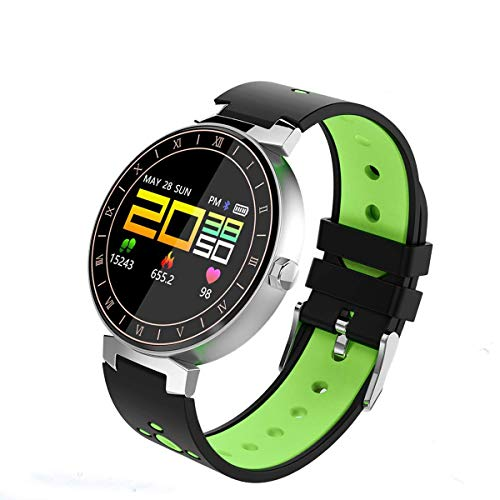 r, IP68 Wasserdichte Smart Watch mit Herzfrequenz- / Schlaf- / Blutdruckmessgerät für Teenager und Erwachsene für Android iOS (Farbe : Green) ()