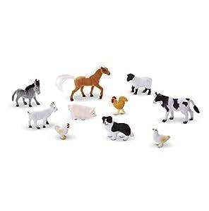 Melissa & Doug Juego de amigos de la granja (10 animales de granja coleccionables, con cajón de madera con forma de establo)