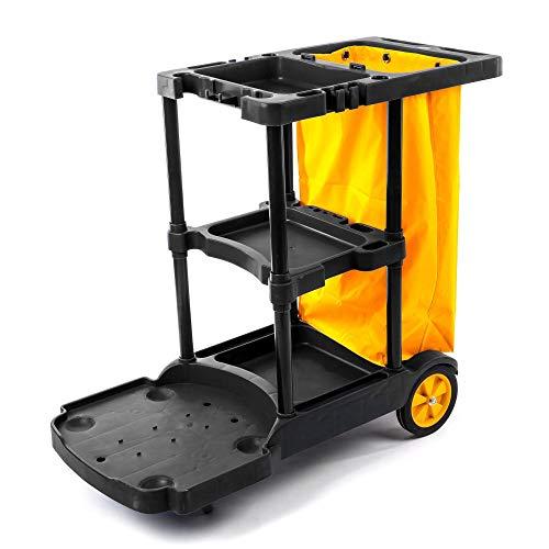 Fahrbarer Kunststoff Reinigungswagen mit 3 Etagen - schwarz