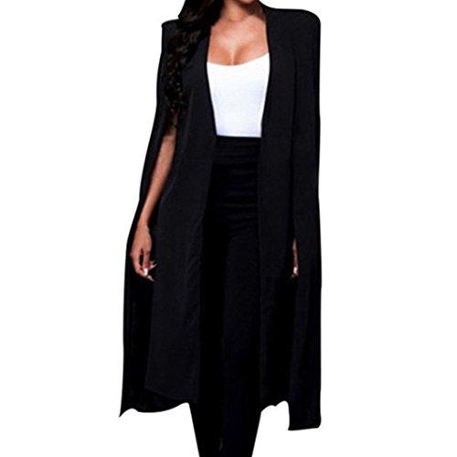 Reaso Femmes Costume Cardigan Business Mi-Longue Manteau Party Suit Loose Trench Coat Mode Veste Outwear Blazer Cap Tunika Casual Tunique Jacket Gielt (S, Noir B)