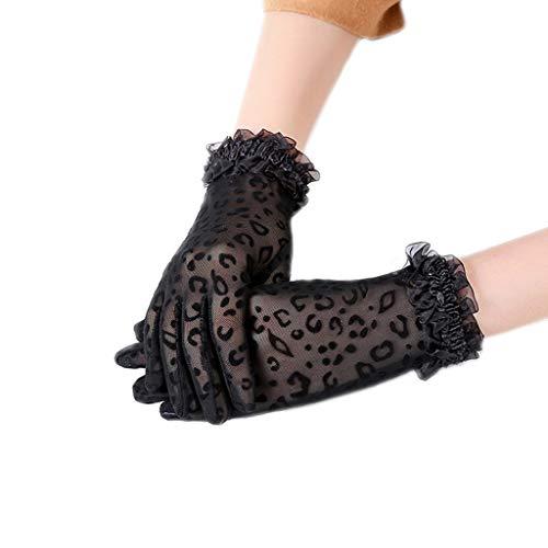 LDA - Guantes para Mujer, diseño de Leopardo, Punta Sexy, para Bodas, Negro, Length:24cm(9.44in)