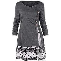 Juliyues Damen Sweatshirt Plus Size,Frauen Knopf Floral Spleißen Tunika Hemden Langarmshirt Tops Bluse L-5XL
