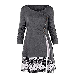 Staresen Womens Sweatshirt Plus Size Button Draped Floral Splicing Long Tunic Blouse Tops