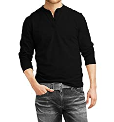 Fanideaz Men's Cotton Henley Full sleeve T Shirts for Men(Premium Black Henley T-Shirt)