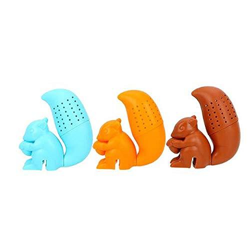 Wsere, set di 3 graziosi mini filtri da tè a forma di scoiattolo, in silicone, da appendere, per gli amanti del tè, 3 colori