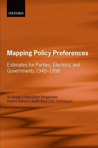 Portada del libro Mapping Policy Preferences: Estimates for Parties, Electors, and Governments 1945-1998 by Budge, Ian, Klingemann, Hans-Dieter, Volkens, Andrea, Bara, (2001) Paperback