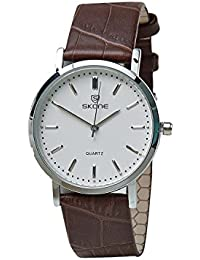 Skone 9310-man-4 Analog White Dial Leather Strap Wrist Watch / Casual Watch - For Men's