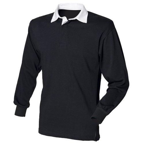Front Row - Polo Manica Lunga 100% Cotone - Uomo Nero