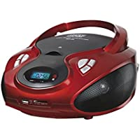 Lauson CP429, Radio Boombox FM/AM, CD Portátil, con USB, Lector de tarjetas SD, Rojo