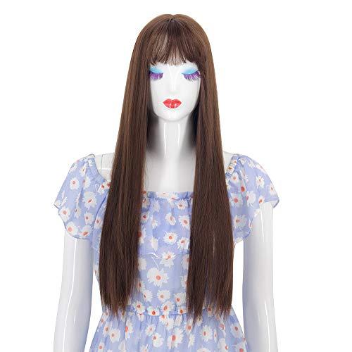 TianWlio Perücken Damen Mode Perücke Synthetische Cabelo mit Pony Fringe Lange Gewellte Perücken 26 Zoll (Kurzen Für Jungs Haaren Mit Halloween-kostüme)