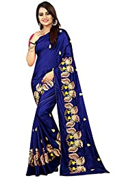 High Glitz Fashion Women's Paper Silk Embroidery Work Sari With Blouse Piece