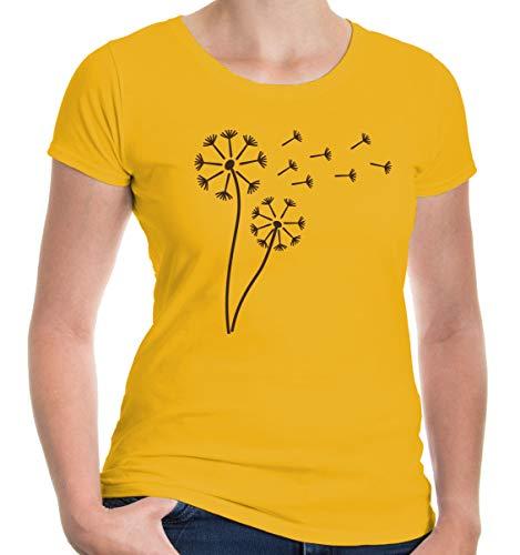 buXsbaum® Damen Kurzarm Girlie T-Shirt bedruckt Pusteblume | Hundeblume Blume Pflanze | XXL sunflower-brown Gelb