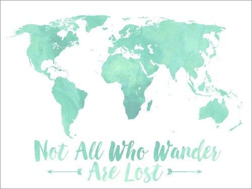 Impresión en metacrilato 40 x 30 cm: Watercolor World Map Mint de Mod Pop Deco