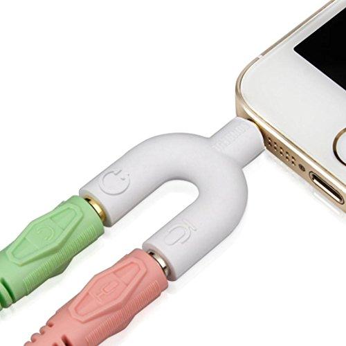 Oyedens Auriculares, Headset Kit Adaptador T de 3,5 mm en forma de Y splitter de audio para auriculares y micrófono