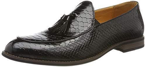 Mocassini da uomo lucidi, con stampa a pelle di serpente, stile smart casual, in pelle, nero (nero ), 40 eu