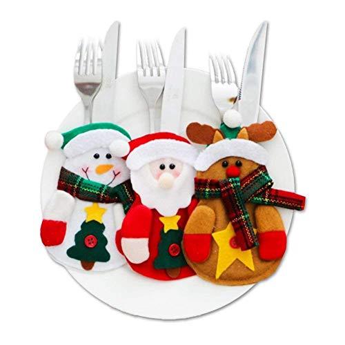 Sanxingrui 3pcs porta posate natale, posate per natalizio coltello forchetta natale decorazione babbo claus pupazzo neve renna abiti posate imposta festa natale regalo