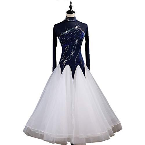Modern Weiß Kostüm Dance - DSDBWQ Modern Dance Rock für Frauen Gesellschaftstanz Waltz Performance Competition Kleider Tango Dance Kostüm,Weiß,L
