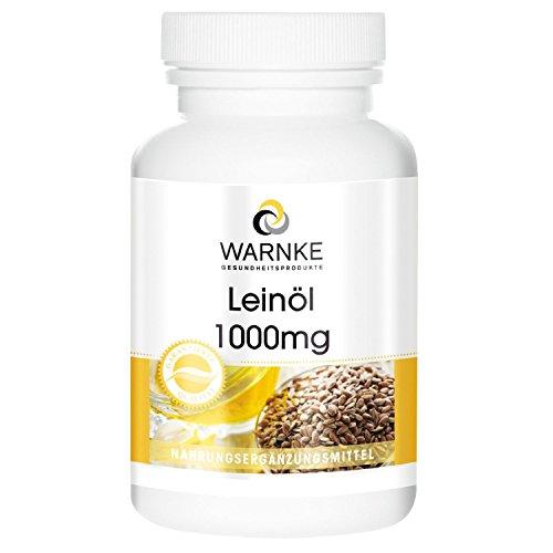 WARNKE - Olio di Lino - 1000mg - 100 Softgels - Spremuto a freddo - 52,6% di acido alfa linolenico (acidi grassi omega-3) - Per il benessere dell'organismo