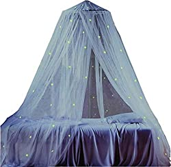 MARBER Round dome bedside sky with shining stars White mosquito net with DIY shining stars Suitable for kids, boys, girls, cot