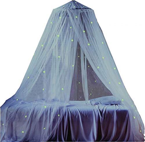 MARBER Round Dome Betthimmel mit Licht für weiße Kinder Moskitonetz mit DIY leuchtenden Sternen Geeignet für Jungen, Mädchen, Kinderbett -
