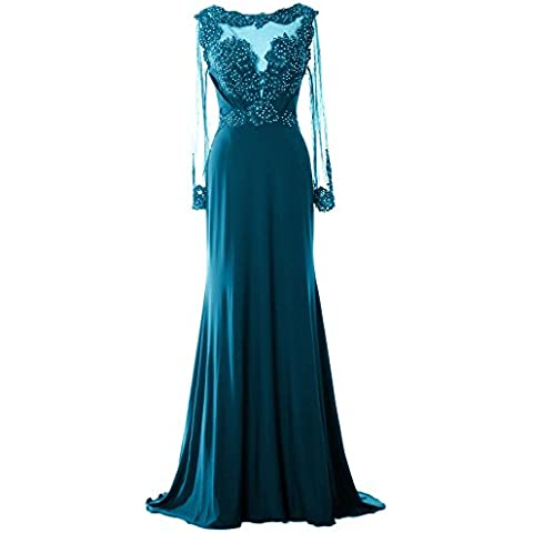 MACloth Women Long Sleeve Beaded Lace Mother of Brides Dress Formal Evening Gown (EU58, Teal)