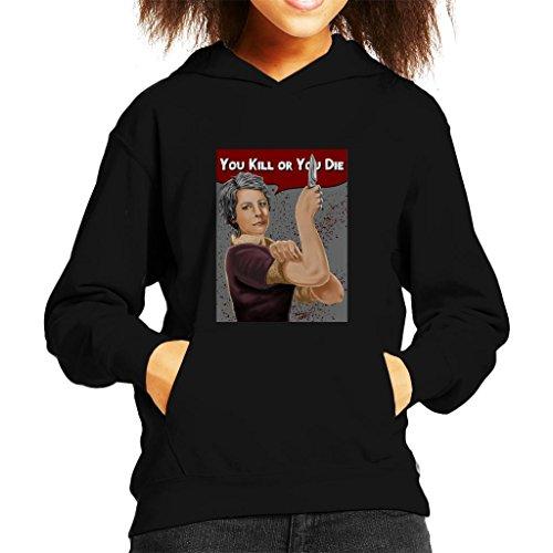 Cloud City 7 Walking Dead Carol You Kill Or You Die Rosie Riveter Pose Kid's Hooded Sweatshirt