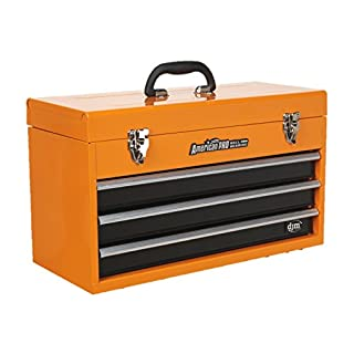 DJM Orange 3 Drawer Portable Top Box Tool Chest & Handle Pro Ball Bearing Slide