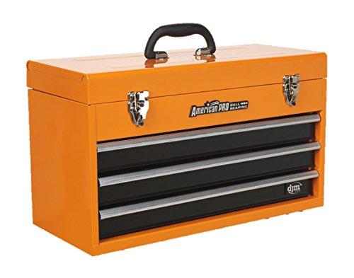 DJM Caisse à outils 3tiroirs avec poignée Orange