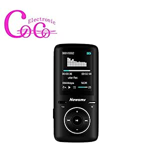 idlb-qudl404G 3D Surround construit de stockage semble Lecteur MP3, Newsmy A3325heures Temps de jeu mémoire soutien étendre, avec écouteurs et USB Noir 32G