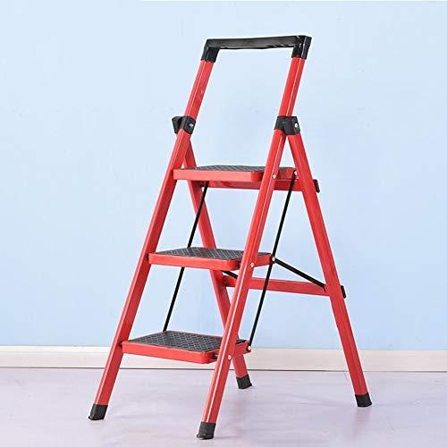 Preisvergleich Produktbild Home Folding 3 4 Stufen Leiter DREI Vierstufen Hocker Haushalt Dual Use Indoor Küche rutschfest Tragbar Mit Armlehnen JYTZ (Color : Red,  Size : 3 Steps)
