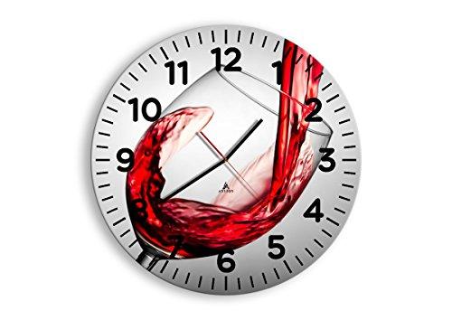 Horloge Murale - Ronde - Horloge en Verre - Pendule murales - 50x50cm - 2258 - Mécanisme d'écoulement - Silencieux - prete a Suspendre - Moderne - Décoration - Pret a accrocher - C4AR50x50-2258
