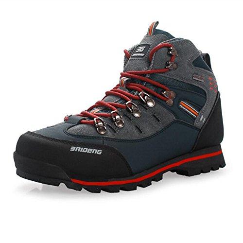 Showlovein Wasserdichte Leder Outdoor Wanderschuhe Herbst Winter Herren Sport Trekking Bergsteigen Stiefel, Graun, 44 EU