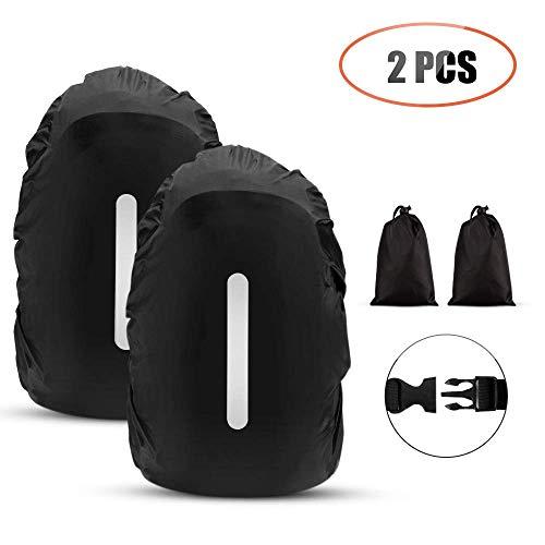 AGPTEK 2 Stück Wasserdichter Regenschutz Rucksack Cover Regenhüllen Regenabdeckung für Camping Wandern (M (26-40L), Schwarz mit Reflexstreife) -