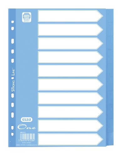"ELBA 400010151 Register ""One"" | 25er Pack | 10 Blatt | 10-teilig | A4 | blanko | PP | hellblau"