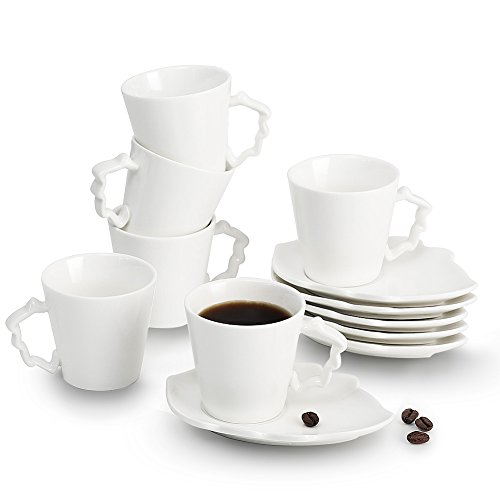 Sweejar Home Ceramic Espresso Cups and Saucer Set of 6, 2 OZ/60 ML White Porcelain Small Coffee Cups Mugs