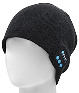FULLLIGHT TECH Bluetooth Beanie Hat Headphones with Stereo Speakers&Mic Winter Knitted Wireless Music Headset Cap for Running Skiing Hiking Unique Tech Christmas Gifts for Men Women Girls Boys(Black)