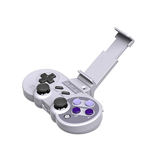 Hiotech Manette sans Fil Bluetooh 8Bitdo Sn30/Sf30 kit Classique Jeu Vidéo Joystick Gamepad pour Android/iOS/Windows/Mac Os/Wii/Wii U/commutateur Gamepad + Stander