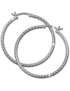 SilberDream Damen Creole gedreht 40mm Damen Ohrring 925 Sterling Silber SDO0064J