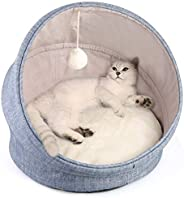 LBLA 2-in-1 Cat Bed and Cave Cat Bed for Indoor Cats, Machine Washable Cat Beds, 18 inch Pet Bed for Cats or S