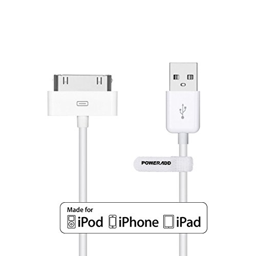 [Apple MFI Certified] Poweradd Apple Charging Date Cable 30 Pin Dock Connector to USB Cable for APPLE iPhone 4S/ 4/ 3GS, iPad 3/ 2/ 1, iPod nano 5th / 6th, iPod touch 3rd/ 4th and Previous Apple Models -4 Feet / 1.2 m