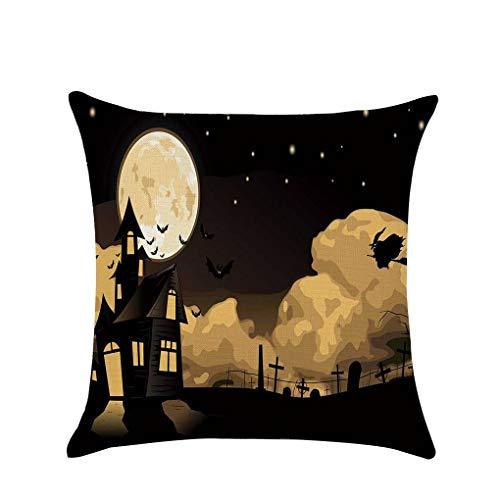 her Halloween-Kürbis Weiche Leinen 45x45cm Wurf Cartoon-Muster Pillowcase für Sofa Wohnkultur #2 ()
