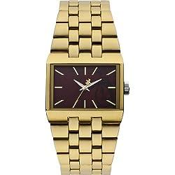 Original Penguin Men's Quartz Watch with Brown Dial Analogue Display and Gold Bracelet OP5007GD