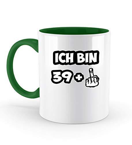 PlimPlom Ich bin 39 + Mittelfinger Tasse Zum 40 Geburtstag Spaßgeschenk Fun Kaffeetasse - Zweifarbige Tasse -330ml-Irish Green