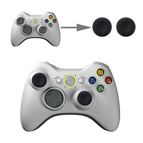 wortek Controller Aufsätze Thumb Grip Control Stick Set Kappe Silikon PS2, PS3, PS4, Xbox, Xbox 360, Xbox One Schwarz (Ps3 Controller Wie Der Xbox 360)